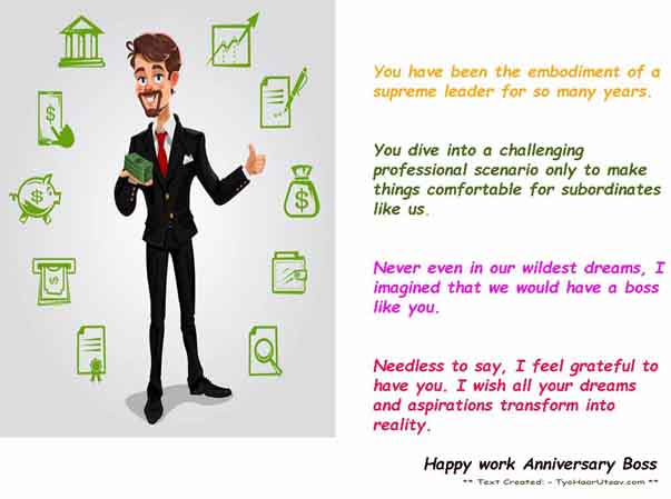 Best wishes of work anniversary for your dear Boss