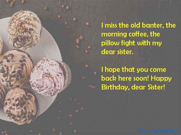 Cute one line message of happy birthday to long distance Sister Image