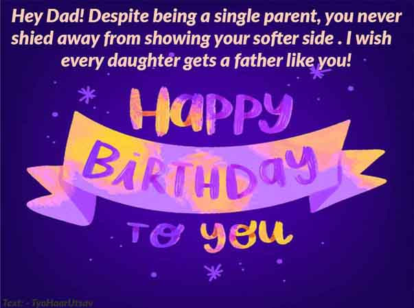 Daughter to Dad Birthday Wishes Both Image and Text
