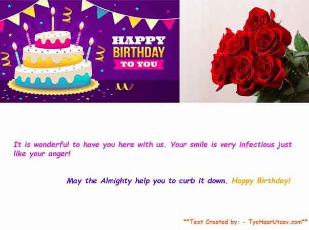 Example Sarcastic wish of Birthday to your female co-worker