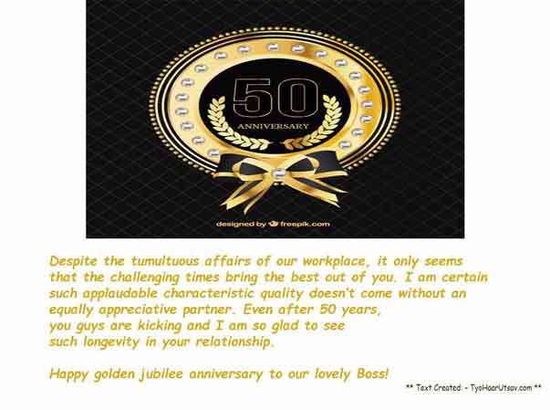 Golden Jubilee Wedding anniversary wishes for your Sir