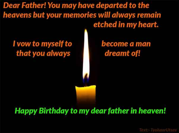 Image Text of Happy Birthday Wish to Late Father .. Father in Heaven