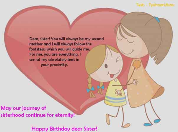 Image of Happy birthday from Sister to Elder Sister
