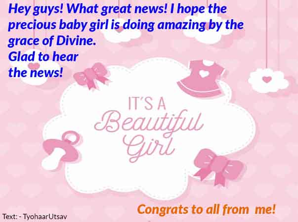 Image of NewBorn Baby Girl Congratulation messages wishes to friends and colleagues