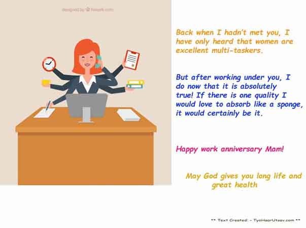 Inspiring Message Work Anniversary for Lady Boss
