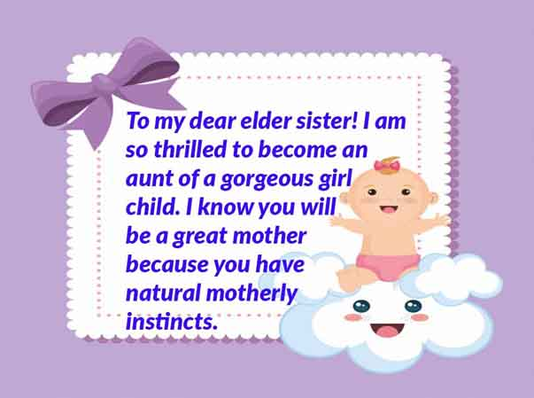 New Born Baby Girl congratulation wishes to my own sister