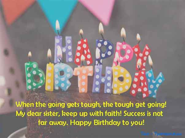 Short one line birthday wish to Sister Image along with text