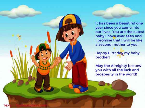 sister to baby brother happy birthday message Image