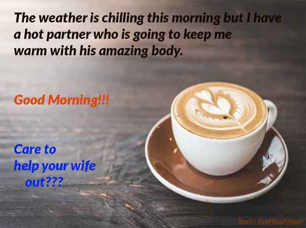 Flirtatious wish of Good Morning to Husband Image and text