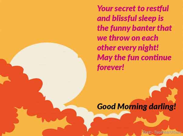 Funny Sarcastic Morning Wish to Life Partner Image and Text