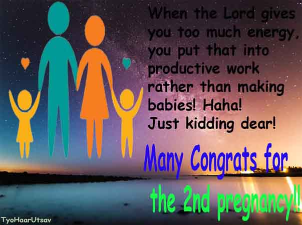 Hilarious Wishes for Second Pregnancy Image