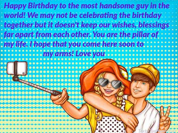 Lovey Dovey cute Message of Happy Birthday to Long Distance LDR Boyfriend Image Text