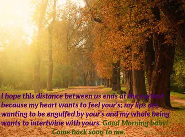 Morning wish to your Husband who is miles away Image and Text