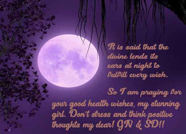 Good Night Girlfriend Good Health Recovery Message Image
